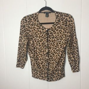 White House Black Market cheetah cardigan